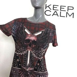 The Kooples Womens Skull Tee Red Black Plaid Wings